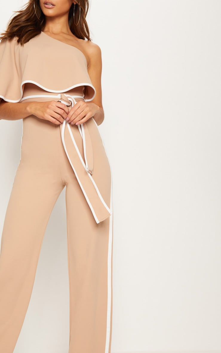Stone One Shoulder Contrast Binding Jumpsuit 5