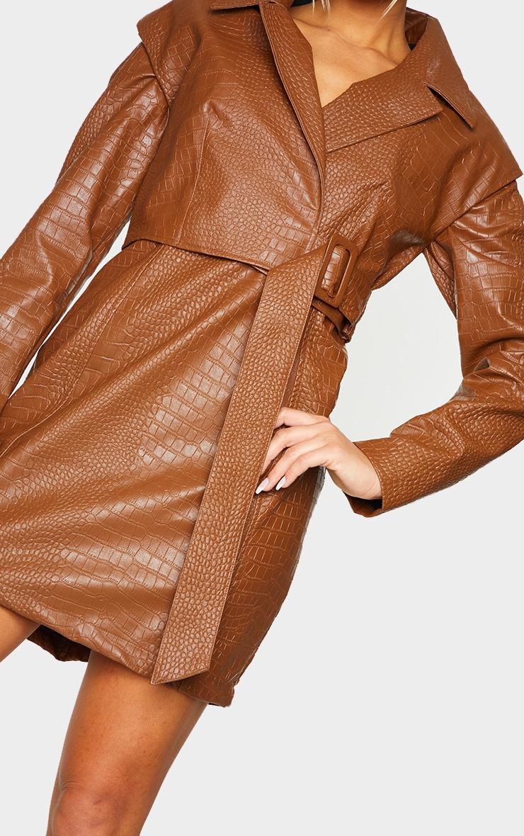 Brown Croc PU Shoulder Pad Buckle Detail Blazer Style Bodycon Dress 4