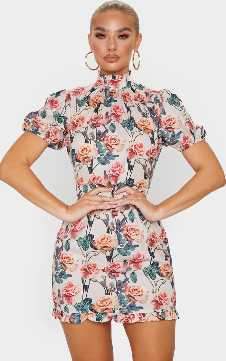 Nude Rose Print High Neck Short Sleeve Bodycon Dress 1