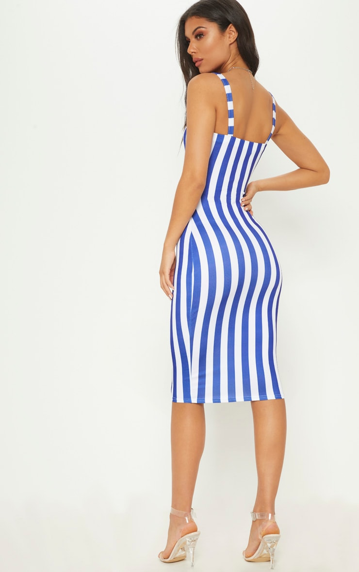 Blue Stripe Print Cut Out Detail Midi Dress 2