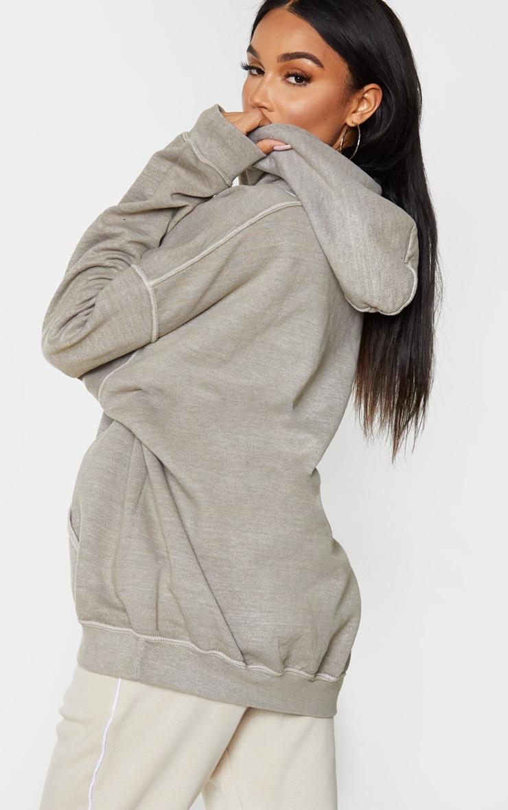 Khaki Washed Oversized Hoodie 2