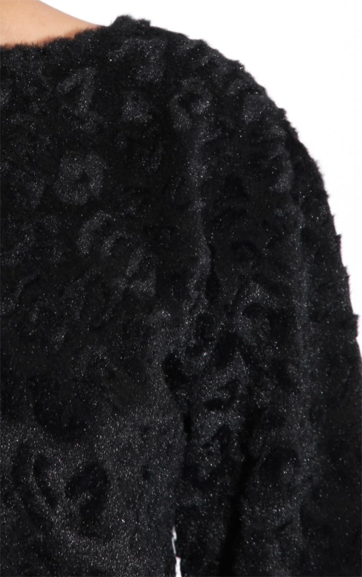 Ava Black Velvet Leopard Print Fur Jumper 5