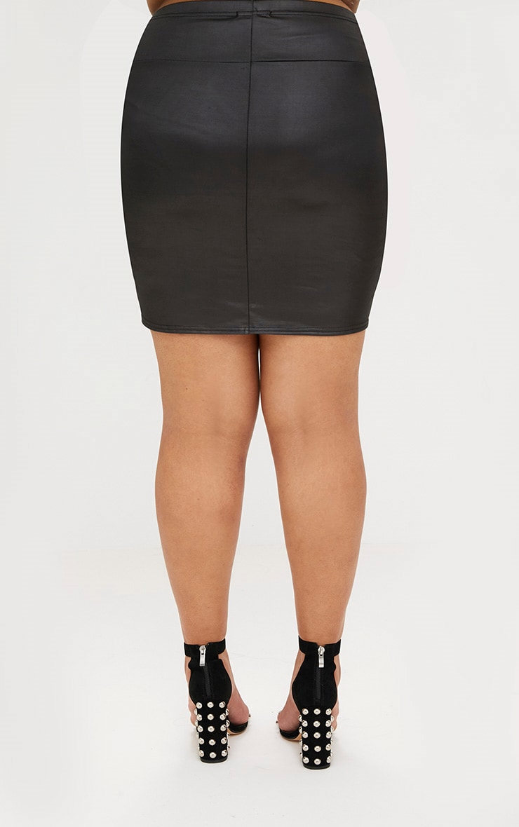 Plus Black Leather Look Mini Skirt 4