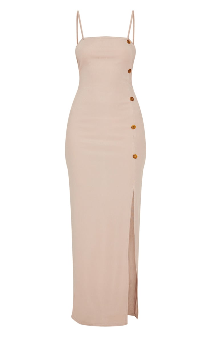 Stone Ribbed Tortiose Shell Button Maxi Split Front Dress 3