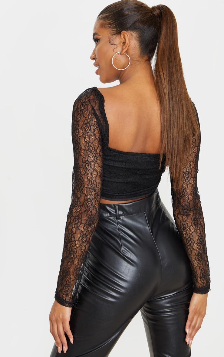 Black Lace Curved Hem Lace Up Long Sleeve Top 2