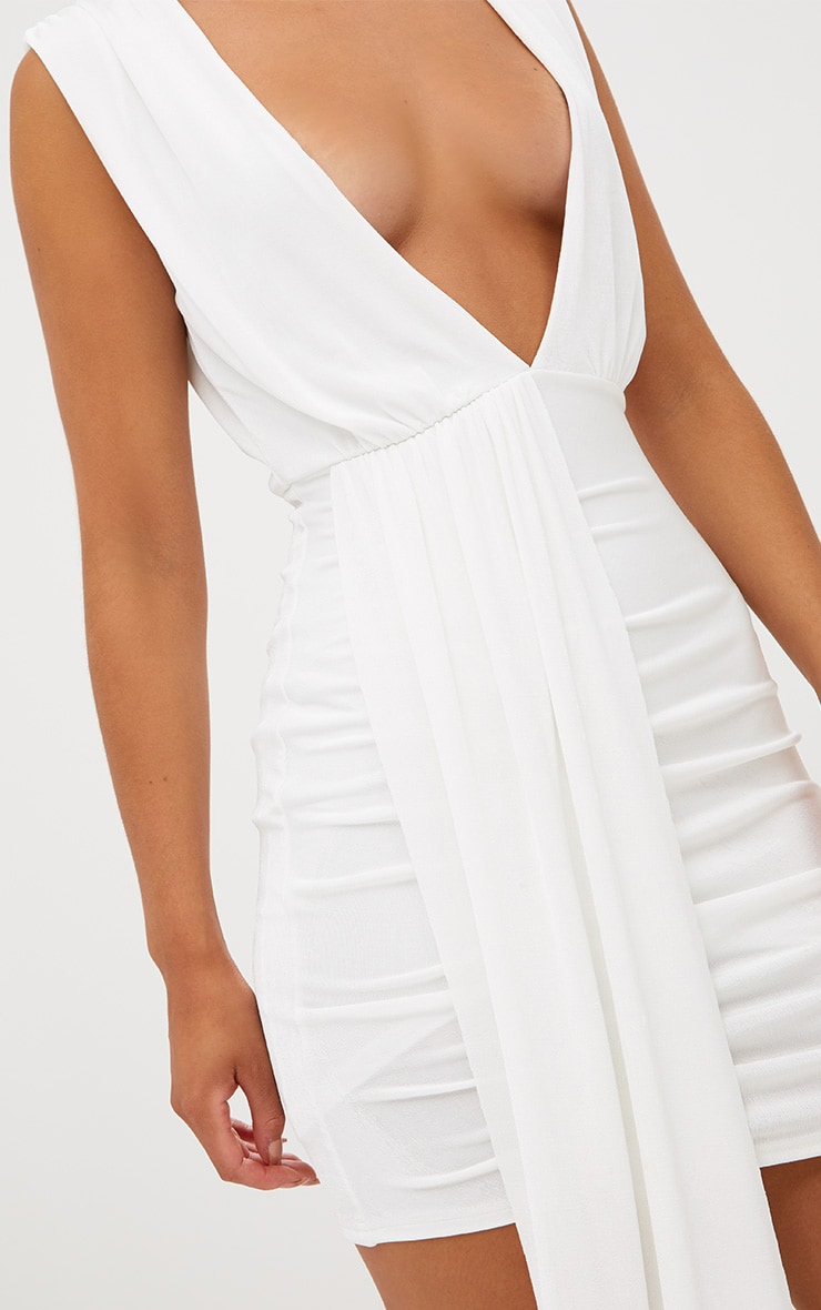White Plunge Neckline Drape Detail Bodycon Dress 5
