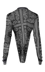Black Paisley Printed Mesh Bodysuit 7