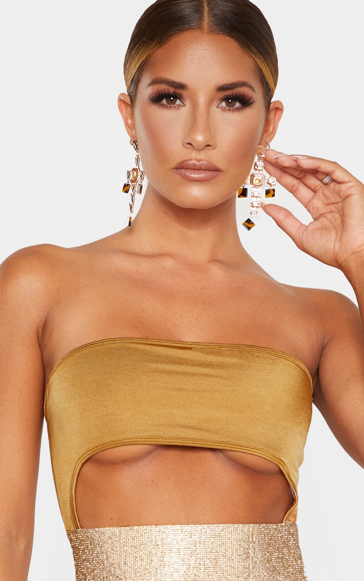 Mocha Strapless Gold Diamante Waist Swimsuit 4