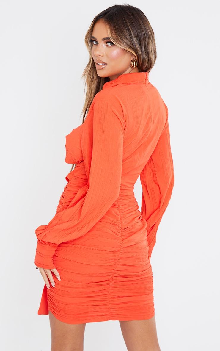 Coral Textured Twist Bust Drape Detail Shirt Syle Midi Dress 2