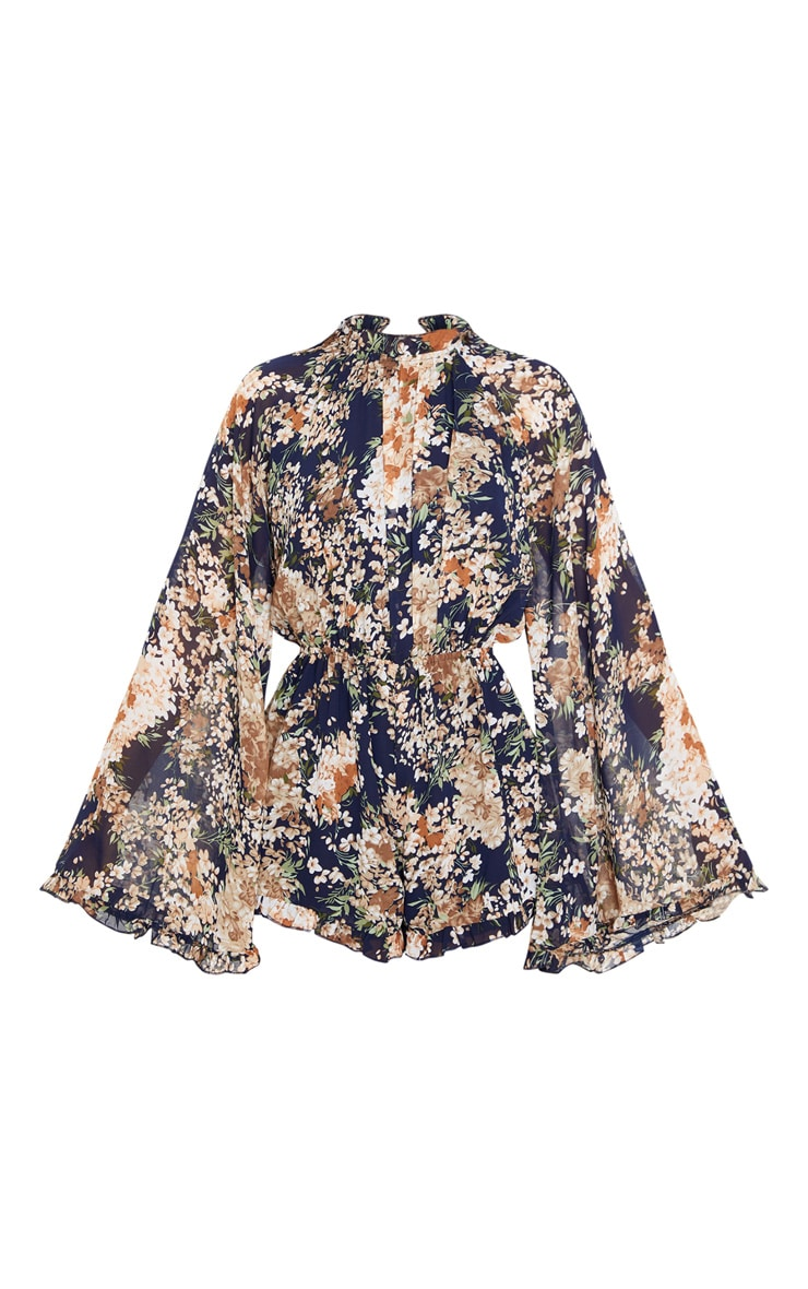 Multi Floral Print Backless Chiffon Playsuit 3