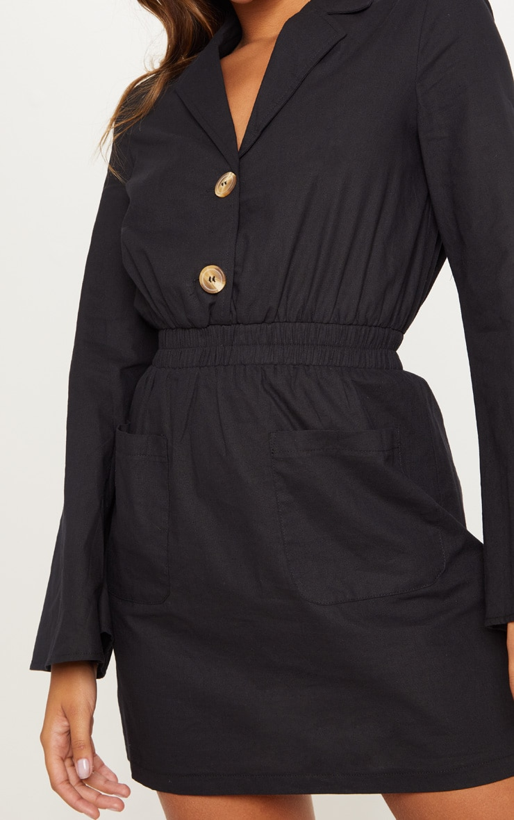 Black Button Front Elastic Waist Pocket Shirt Dress 5
