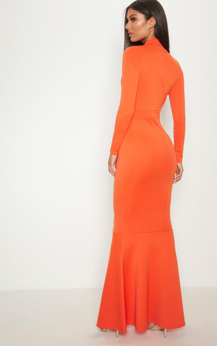 Bright Orange High Collar Detail Plunge Fishtail Maxi Dress 2
