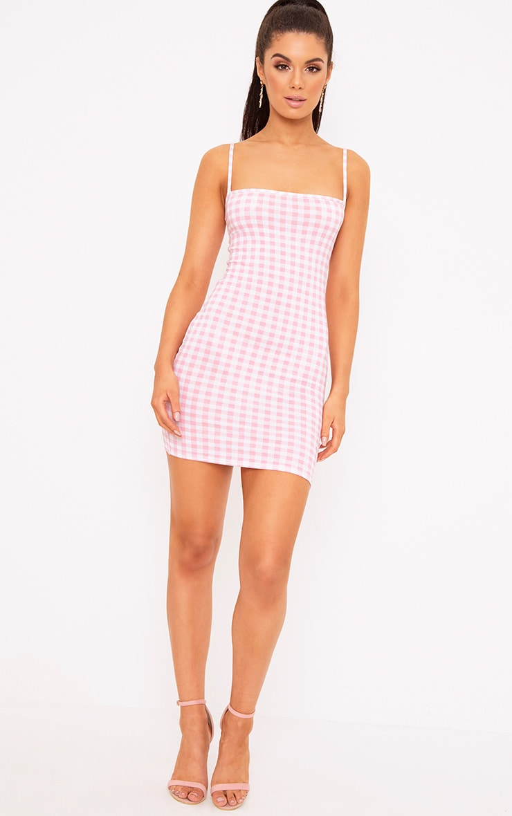Minnie Pink Gingham Bodycon Dress 4