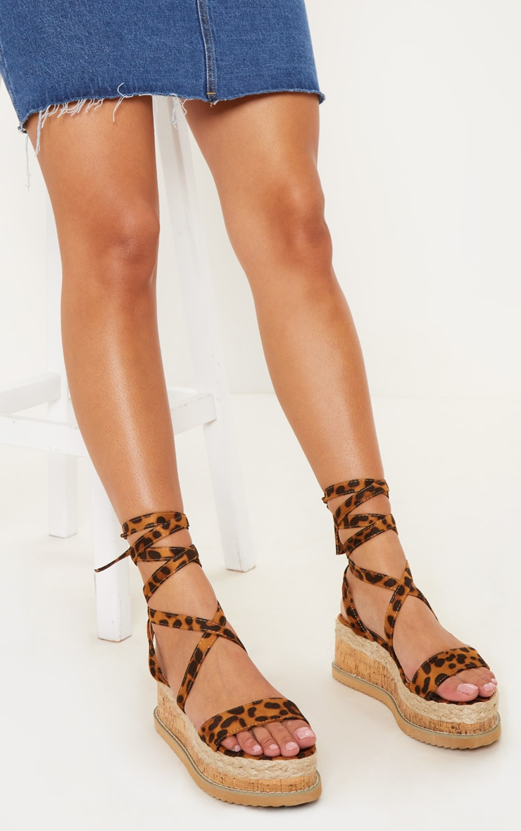 Leopard Niella Espadrille Flatform Sandals