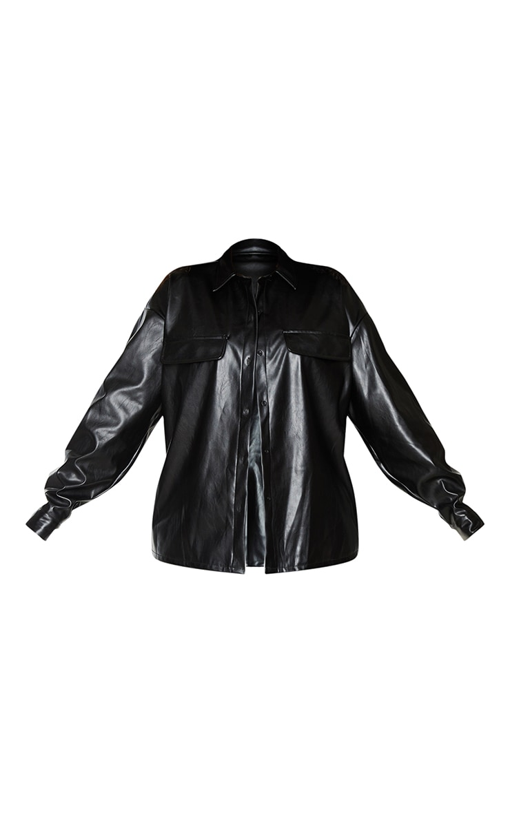 Plus Black PU Oversized Shirt 5