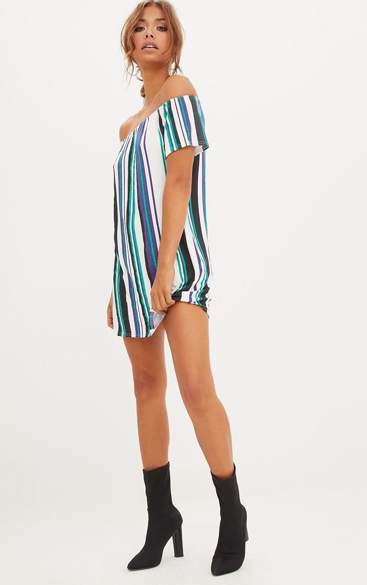 Green Striped Bardot Shift Dress 4