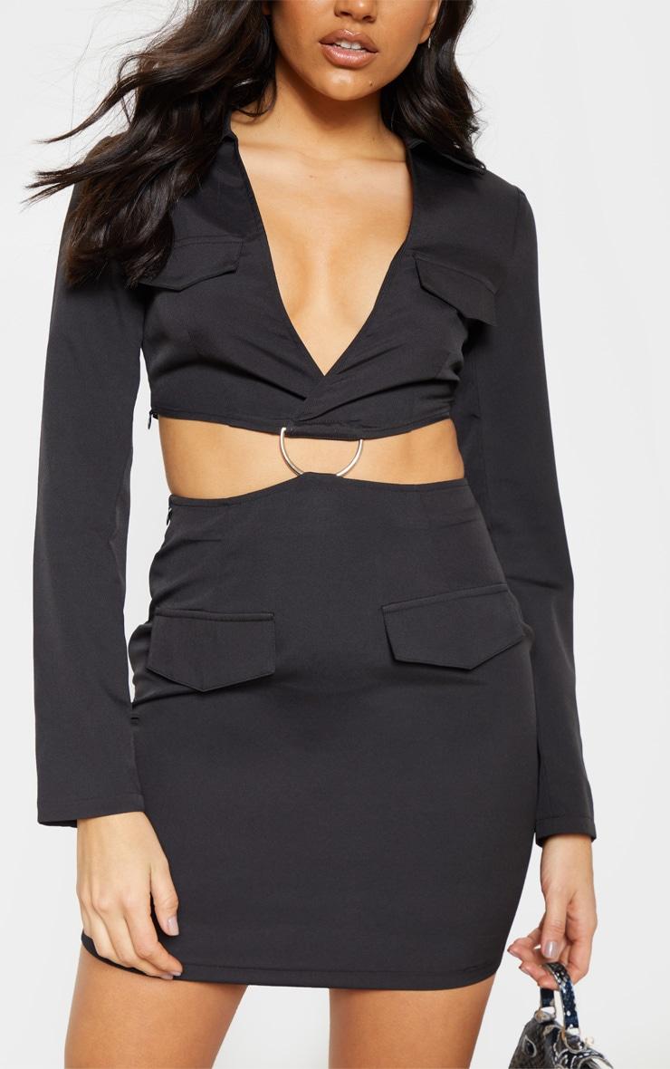 Black Utility Cut Out Bodycon Dress 5