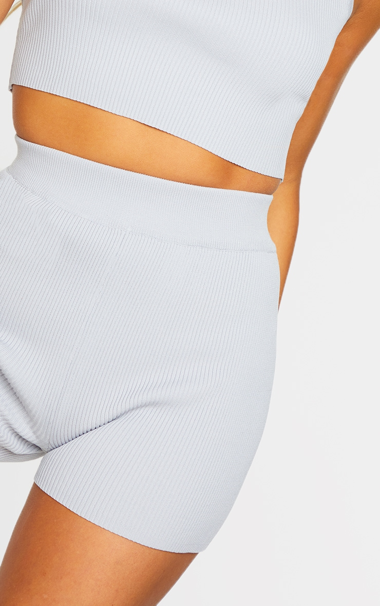 Grey Ribbed Knitted High Waist Hotpant Shorts 5