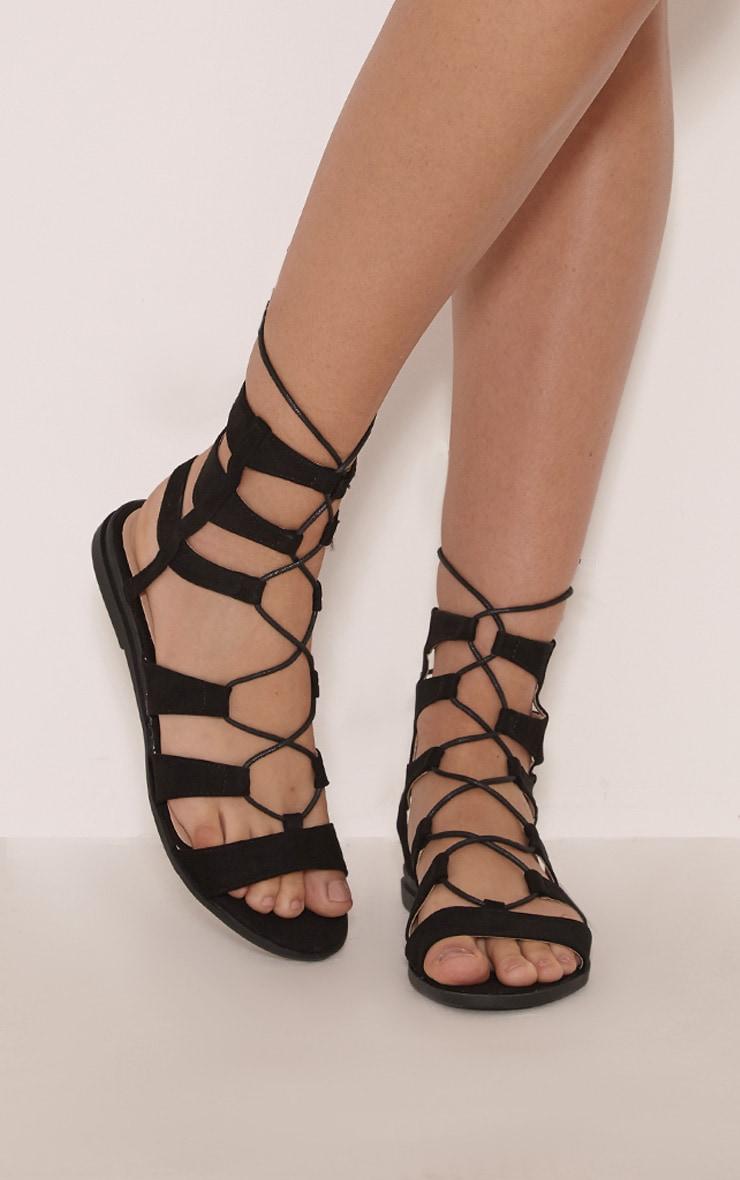 Femi Black Faux Suede Gladiator Sandals 1