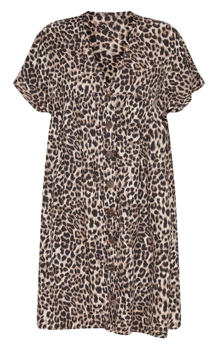 Brown Leopard Print Button Smock Dress 3