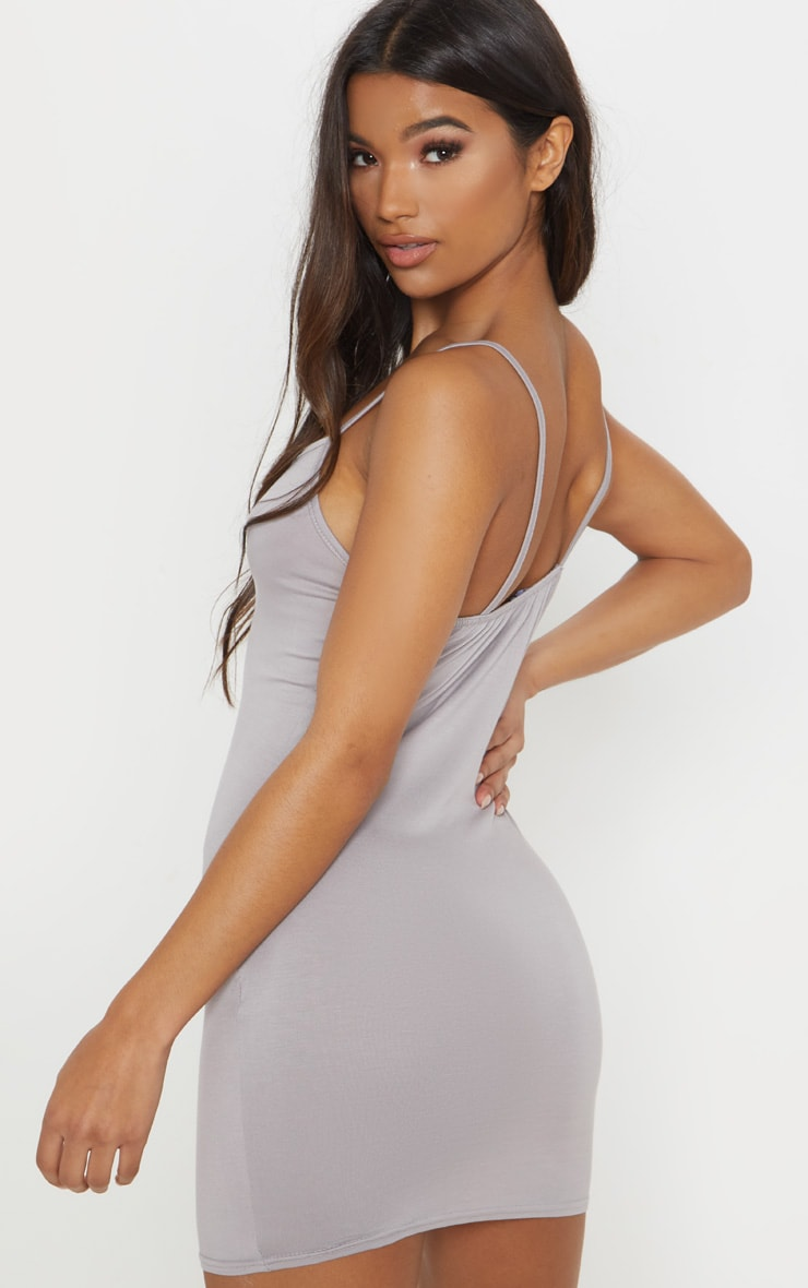 Basic Dove Grey Strappy Bodycon Dress 2