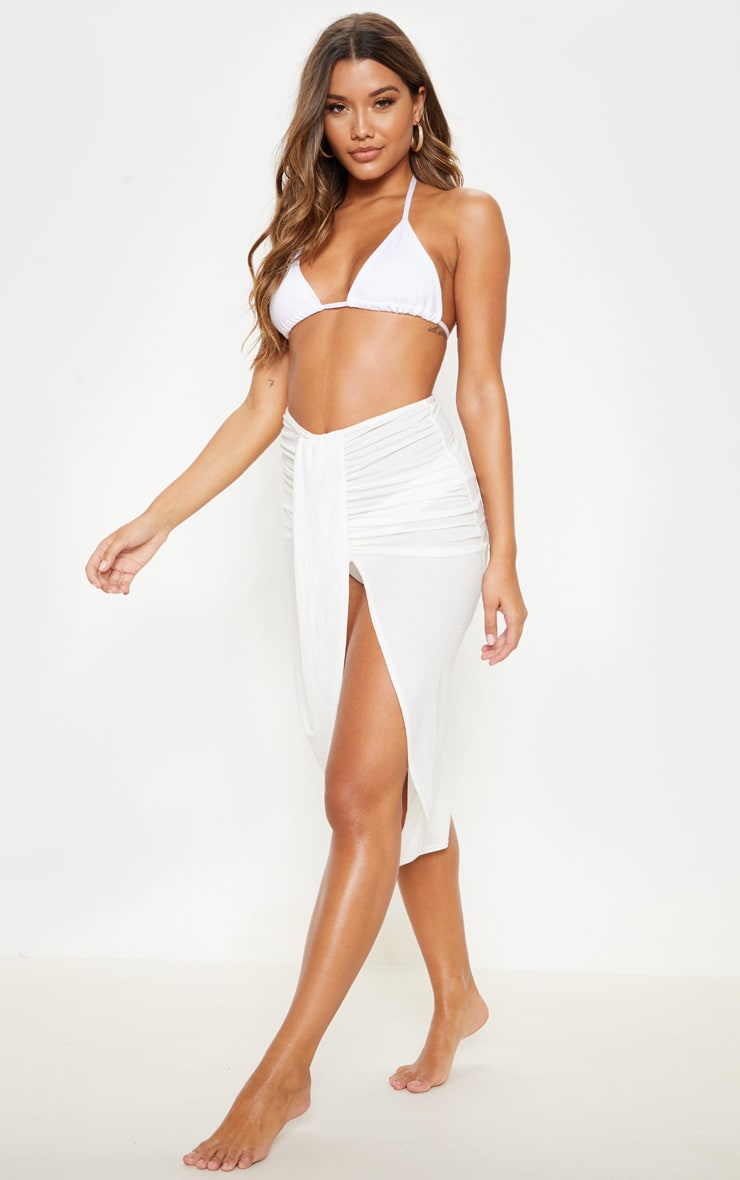 White Knot Front Wrapped Sarong 1