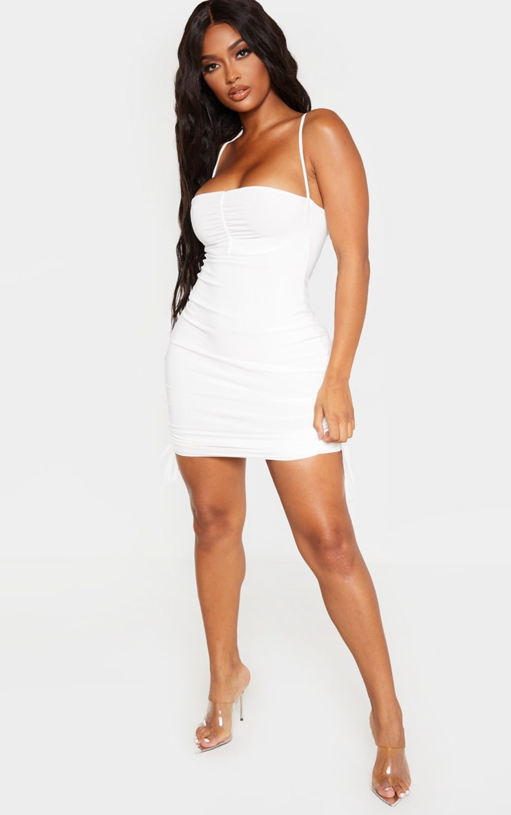 Shape Cream Ruched Detail Strappy Bodycon Dress 4