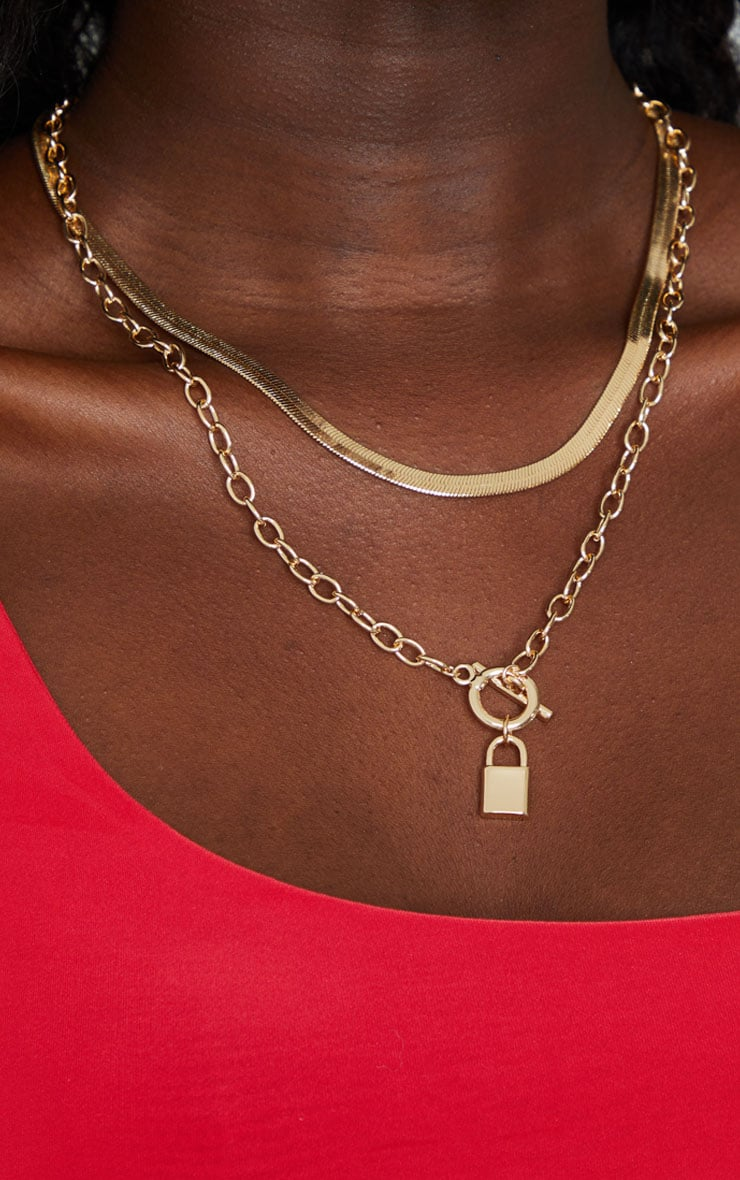 Gold Snake Chain And Padlock Layering Necklace 2