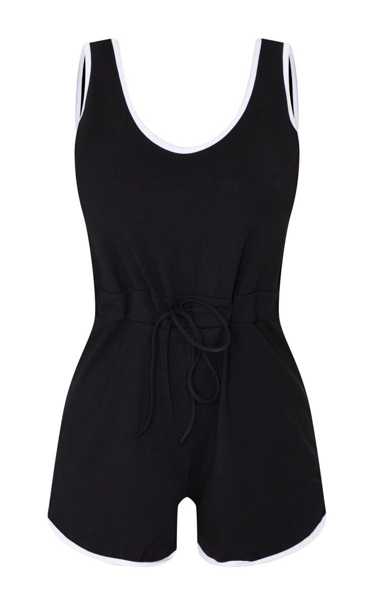 Black Contrast Binding Tie Waist Playsuit 5