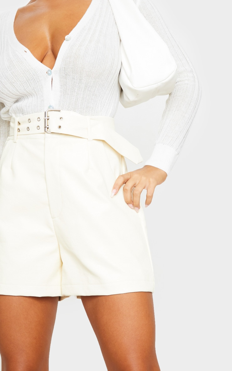 Cream Oversized Belted Faux Leather Tailored Shorts 5