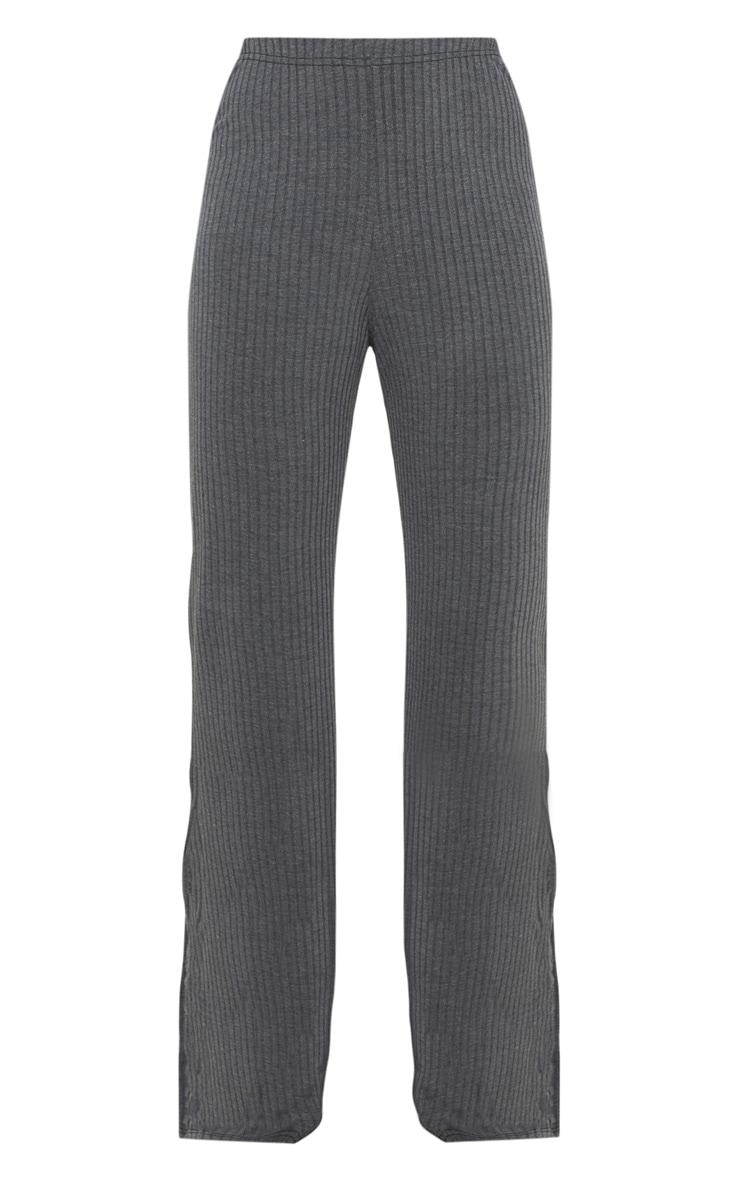 Grey Jumbo Rib Straight Leg Casual Pants 3