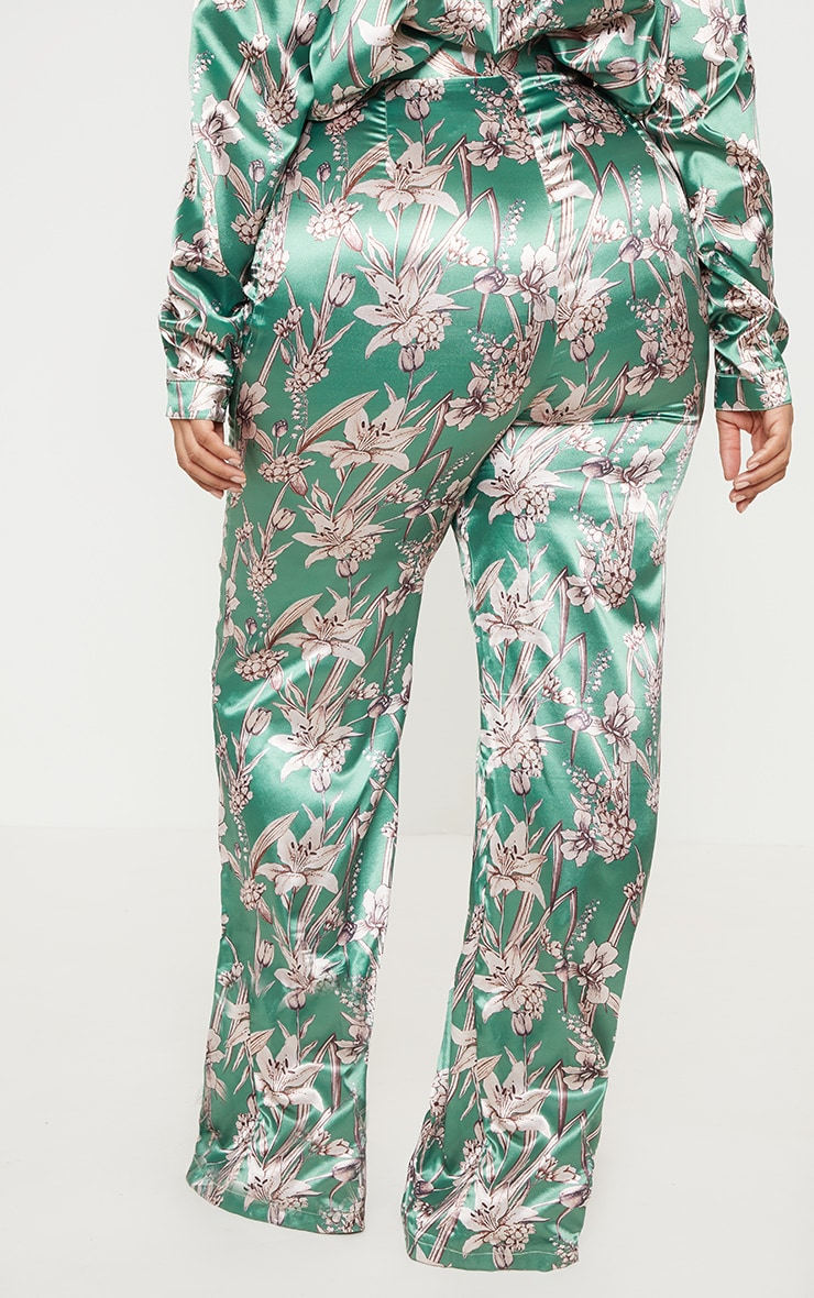 Plus Green Satin Floral Wide Leg Trouser 4