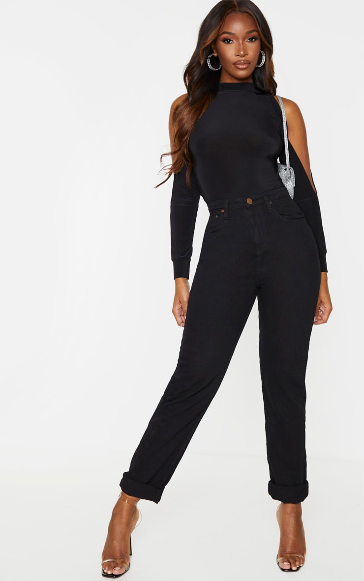 Black Slinky Split Long Sleeve Bodysuit 5