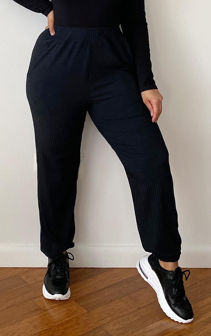 PLT Plus - Jogging côtelé noir à détail poches  2