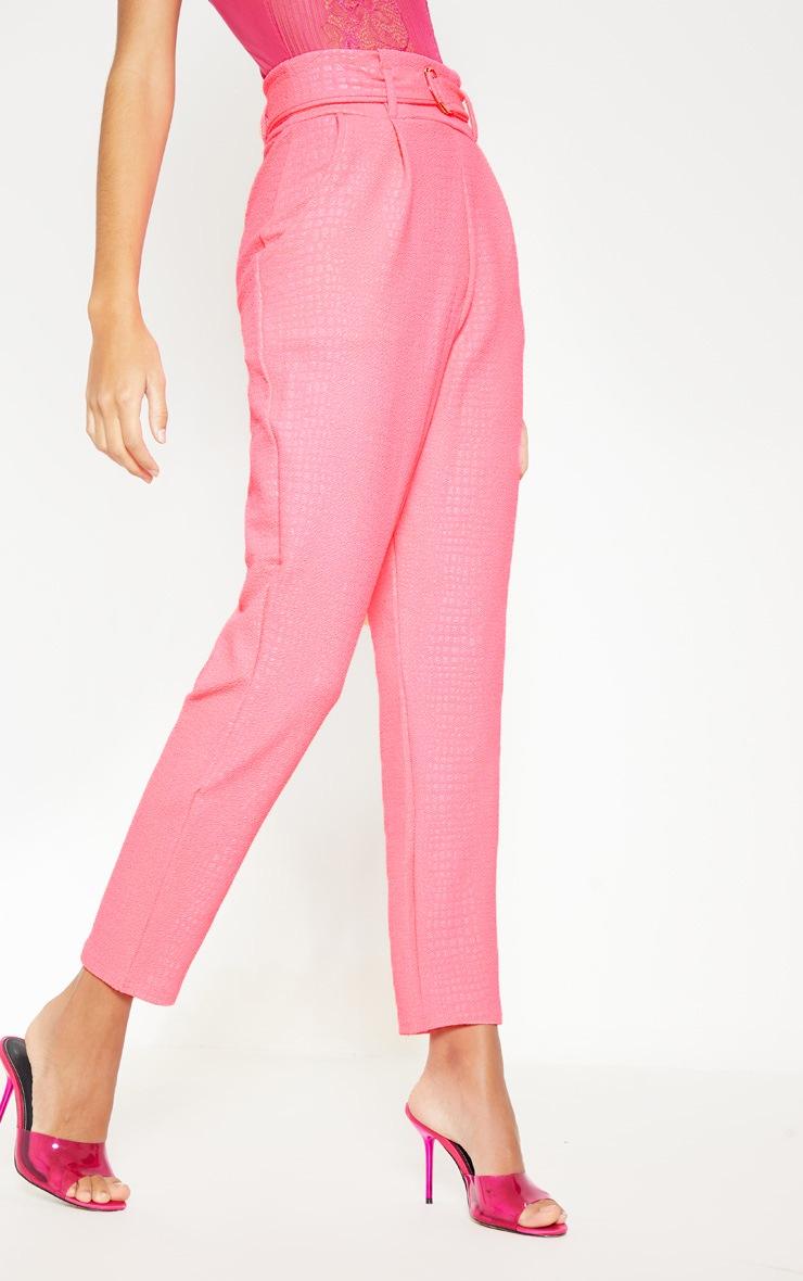 Neon Pink Croc Print D Ring Belted Skinny Pants 2