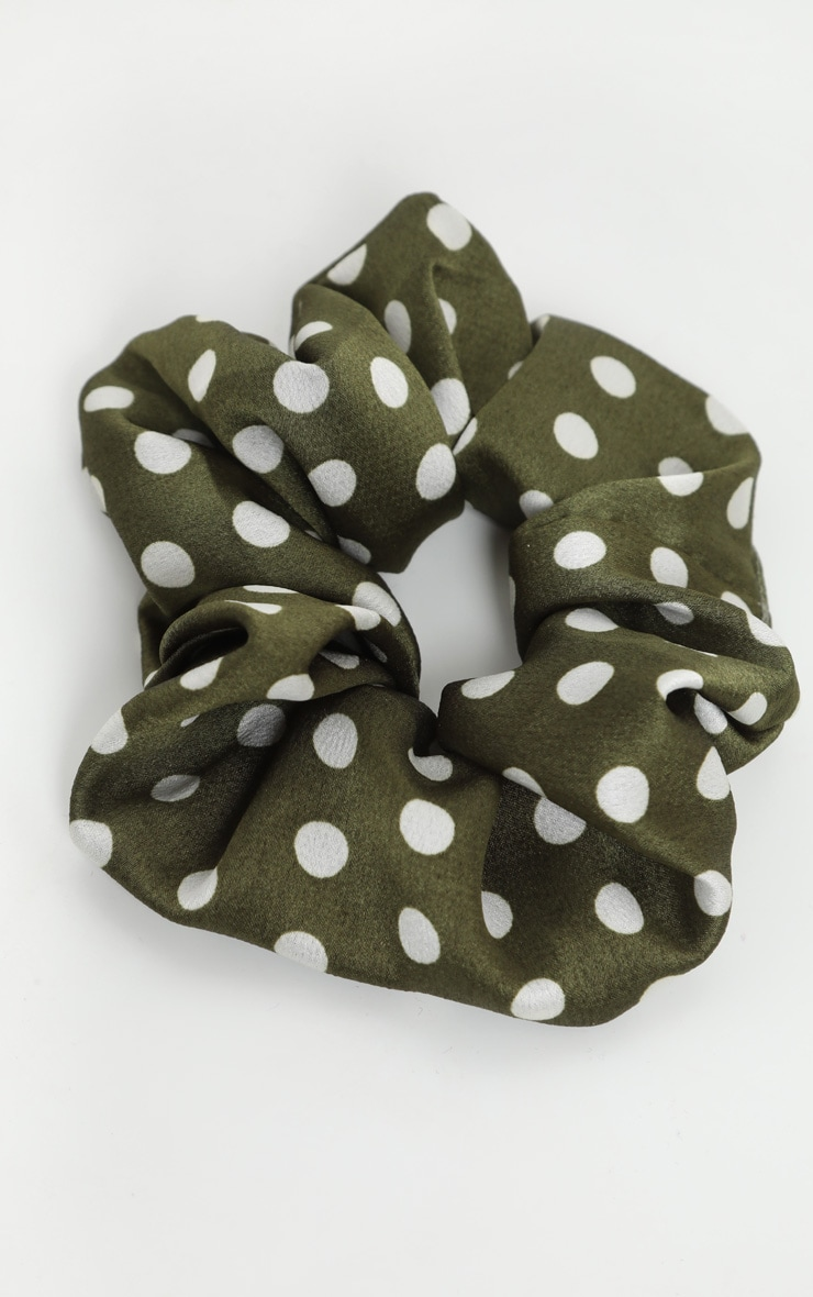 Green Polka Dotted Satin Scrunchie 2