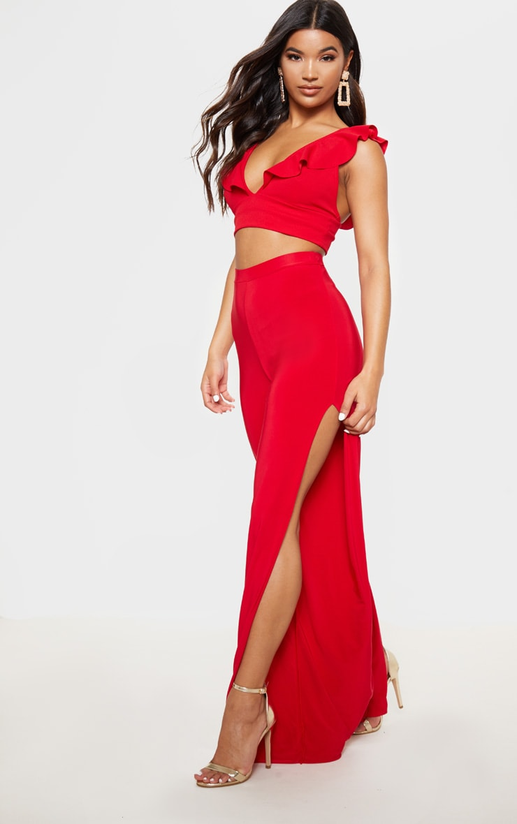 Red Frill Edge Plunge Crop Top  4