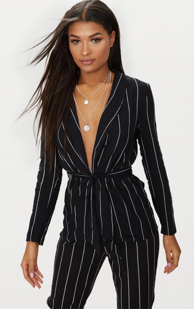 Black Pin Stripe Belted Blazer 1