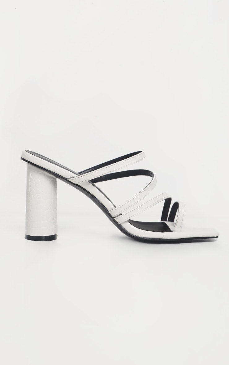 White Round Block Heel Mule Strappy Sandal 4