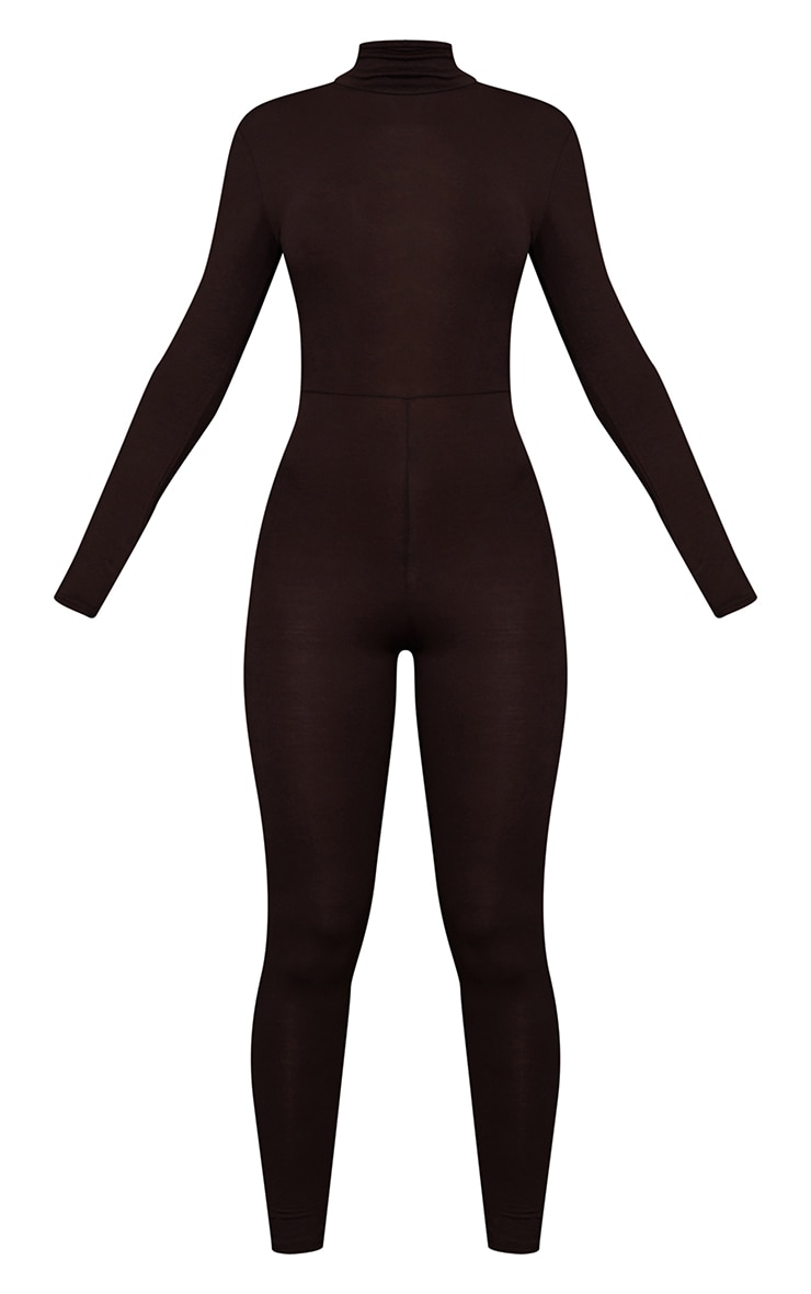 Chocolate Roll Neck Long Sleeve Jumpsuit 5