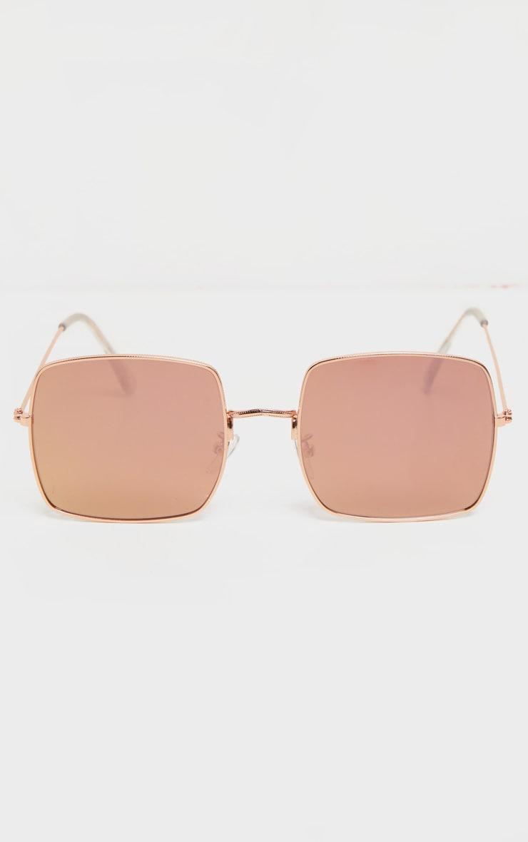 Rose Gold Tinted Lens Square Frame Sunglasses 2