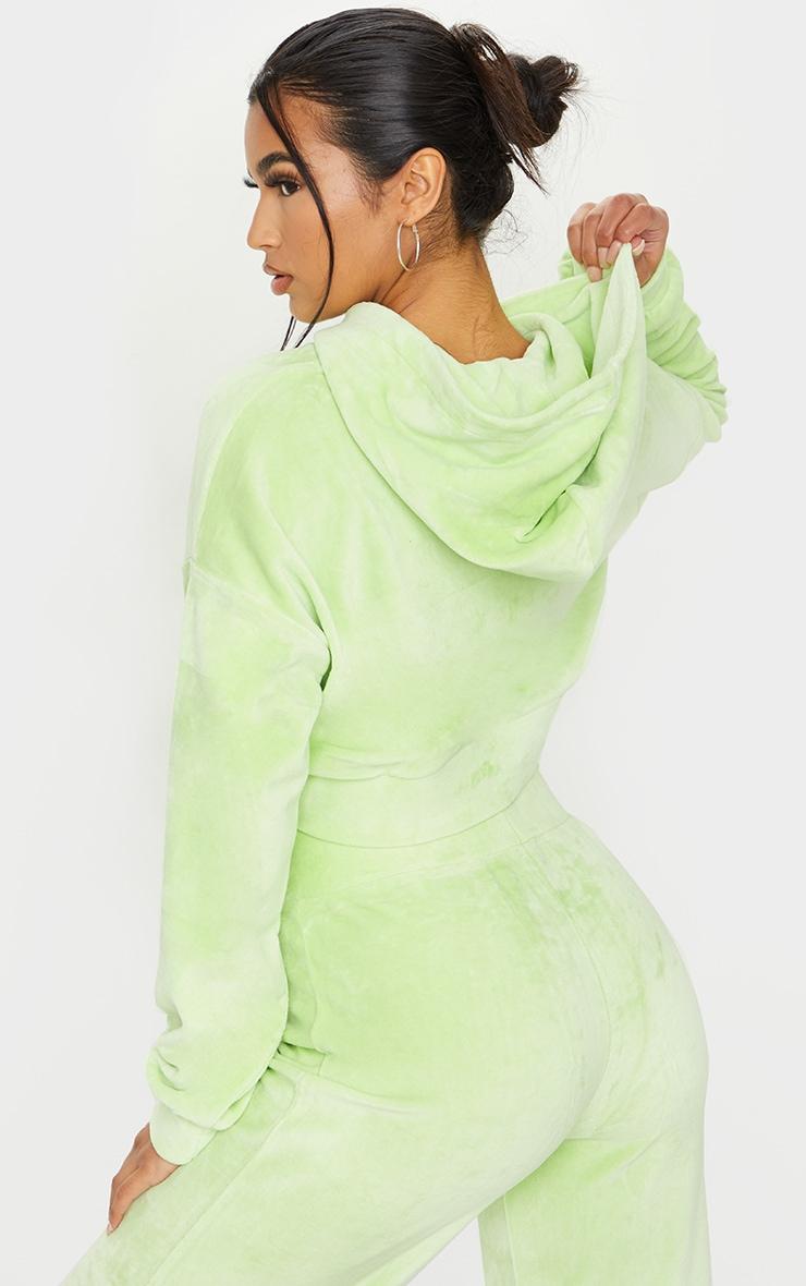 Lime Velour Elastic Hem Cropped Hoodie 2