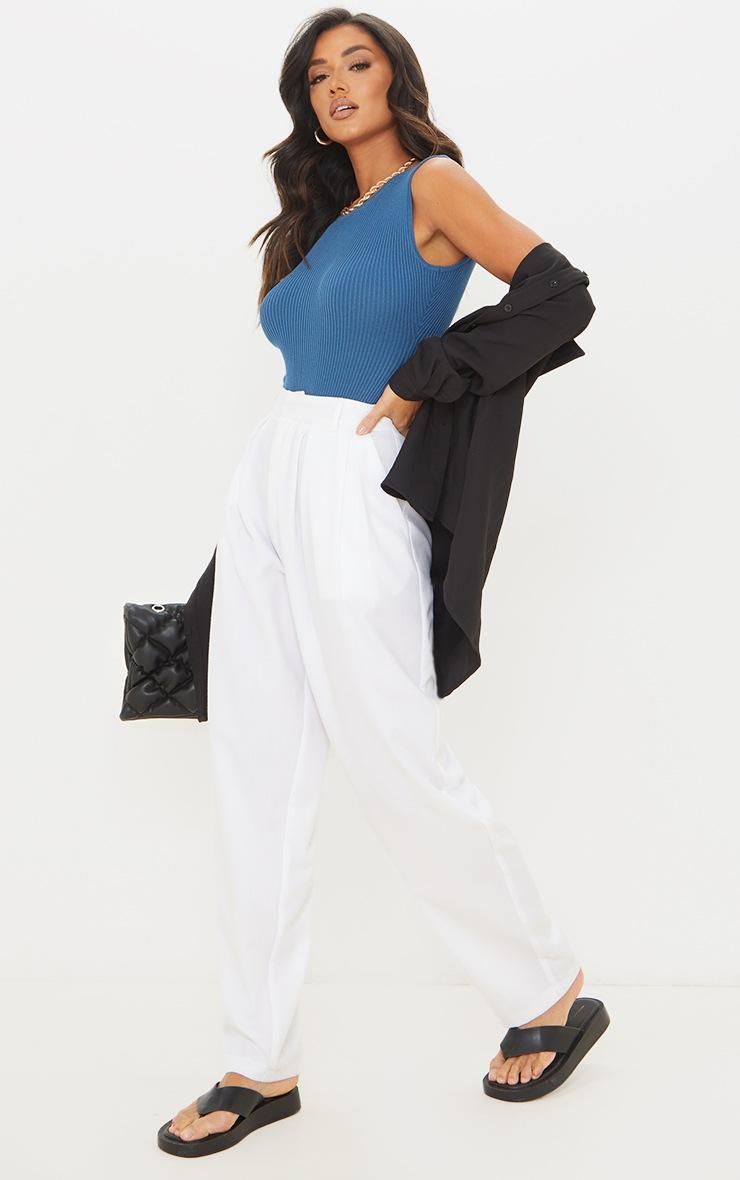 Blue Ribbed Knitted Racer Bodysuit 3