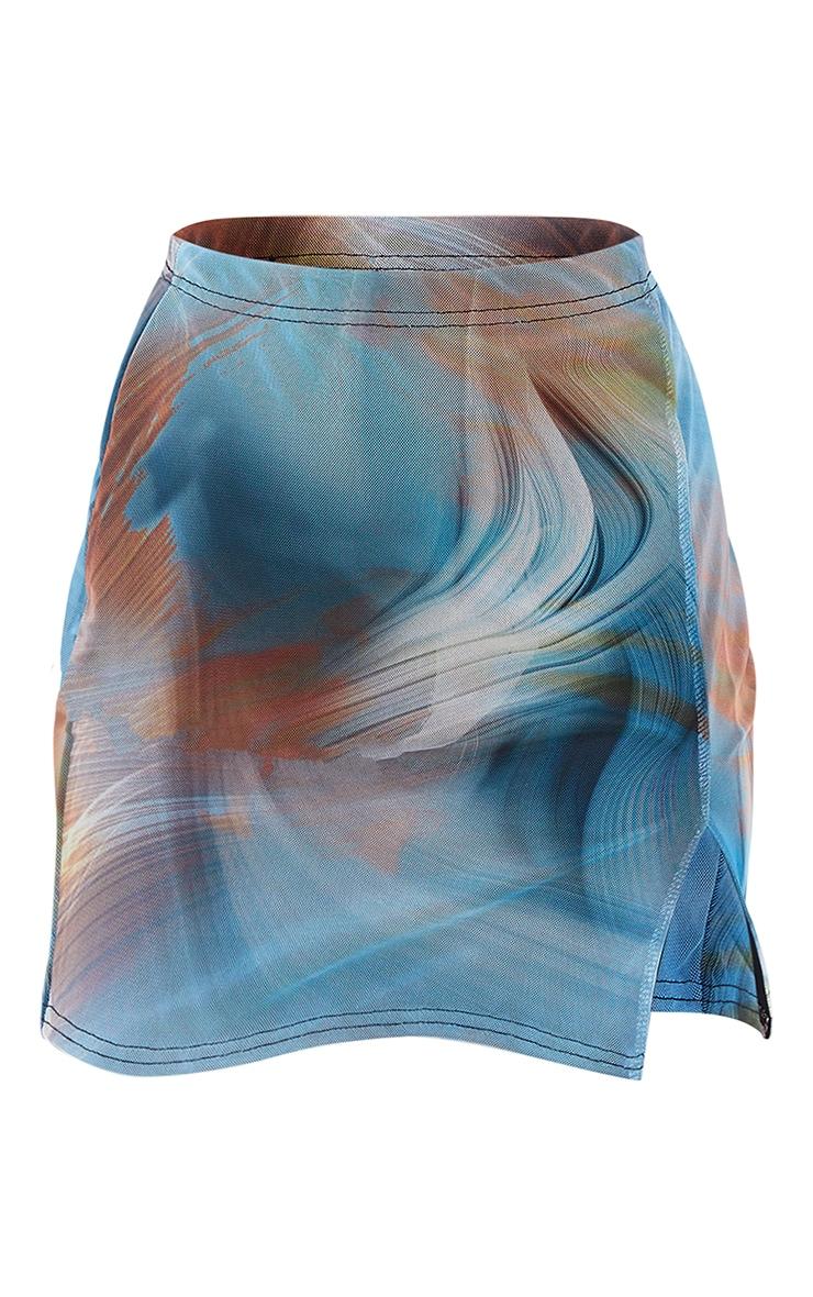 Mini-jupe fendue en mesh bleu imprimé flammes 6