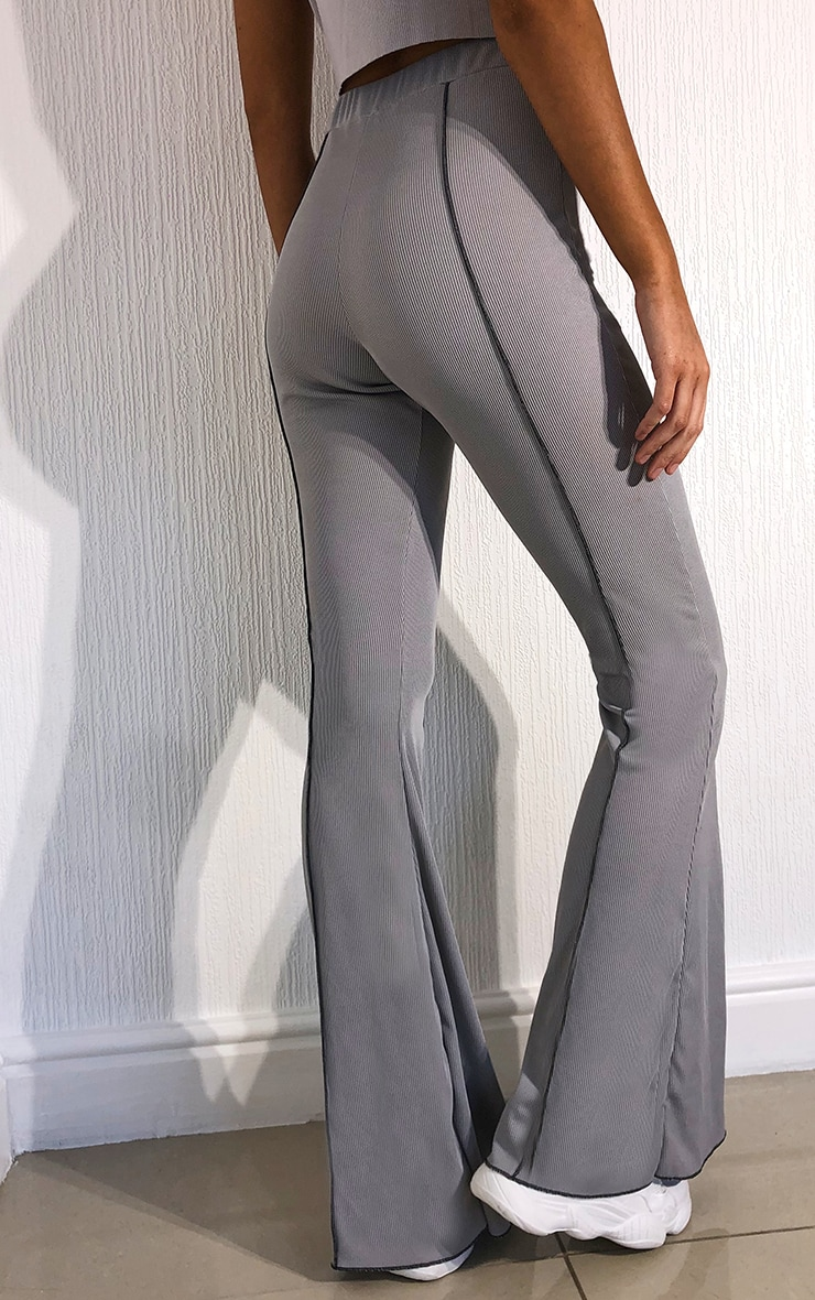 Grey Contrast Seam Ribbed Flare Pants 3