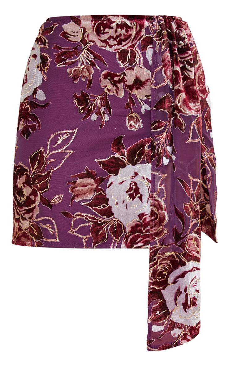 Petite Burgundy Velvet Floral Drape Detail Skirt 5