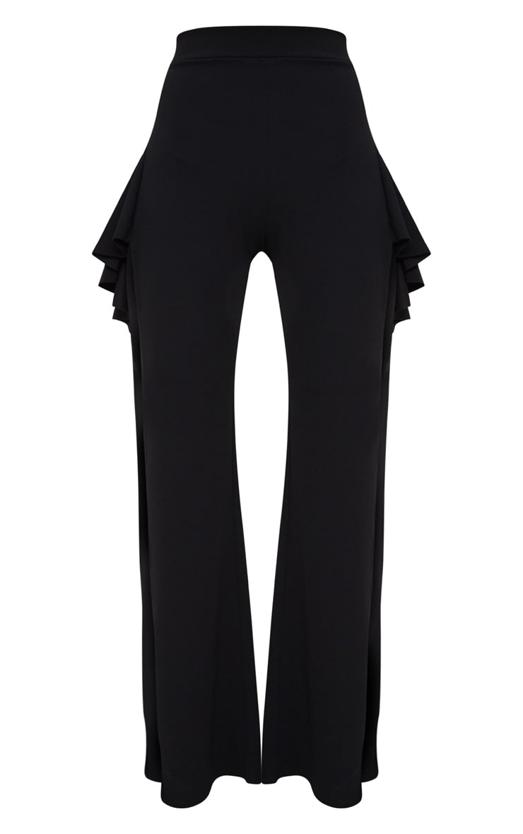 Black Crepe Frill Detail Split Wide Leg Trousers  3
