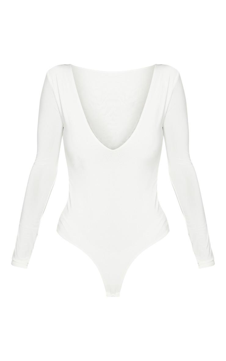 Cream V Neck Slinky Bodysuit 2