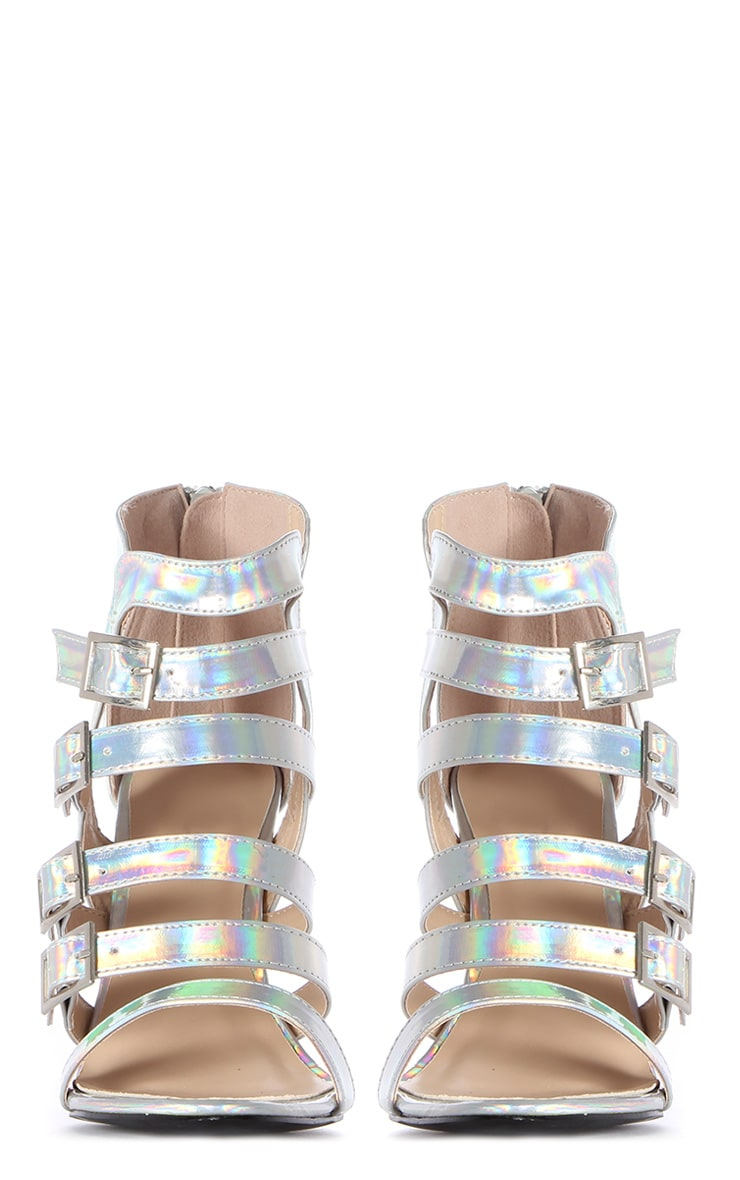 Freya Holographic Strappy Cage Heels 2