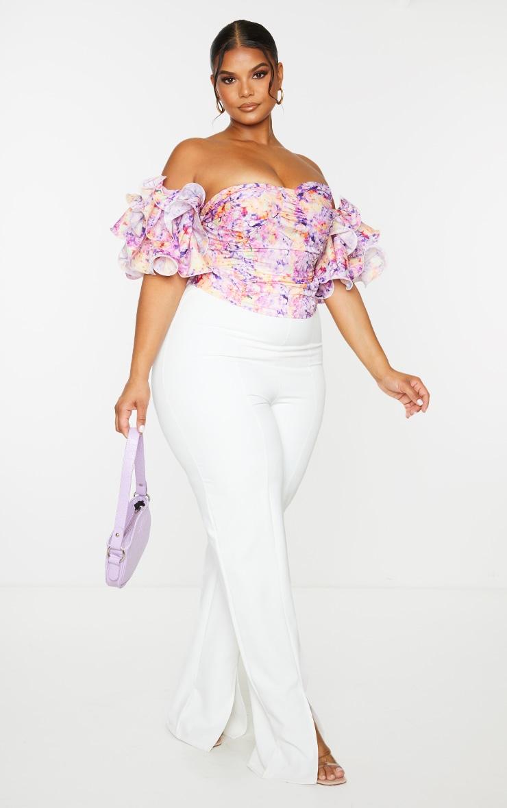 Plus Lilac Floral Print Puff Sleeve Bardot Crop Top 3